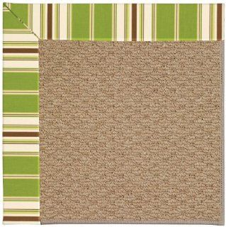 "8' x 8' Square Made to Order Oscar Isberian Rugs Area Rug Green Stripe Color Machine Made USA ""Zoe Collection"" Raffia Design"