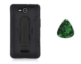 For LG OPTIMUS EXCEED VS840PP / LUCID 4G VS840 Kickstand Hybrid Hard Phone Cover Case   Black / Black + Free Green Stone Pry Tool Cell Phones & Accessories