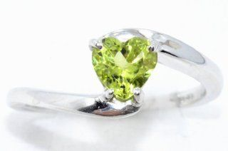 1 Carat Peridot Heart Ring .925 Sterling Silver Rhodium Finish White Gold Quality AVAILABLE IN ANY SIZE, AFTER PURCHASE MESSAGE US WITH THE SIZE YOU WANT Jewelry