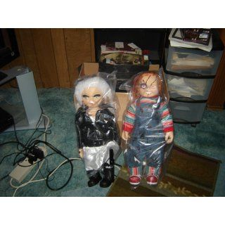 "Bride of Chucky Collectors Memorabilia 26"" Chucky & Tiffany Plush Doll Set Bundled With Stands Toys & Games"