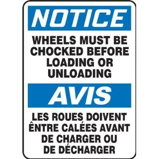 "Accuform Signs FBMVHR842VS Adhesive Vinyl French Bilingual Sign, Legend ""NOTICE WHEELS MUST BE CHOCKED BEFORE LOADING OR UNLOADING/AVIS LES ROUES DOIVENT ENTRE CALEES AVANT DE CHARGER OU DE DECHARGER"", 10"" Width x 14"" Length, Black/Blue"