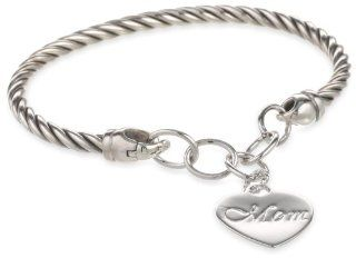 Sterling Silver 'MOM' Roped Cuff Heart Charm Bracelet Jewelry