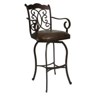 Pastel 26 in. Athena Swivel Counter Stool with Arms   Autumn Rust   Bar Stools