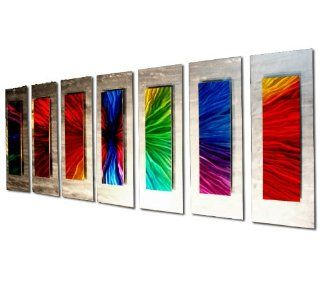 Green, Yellow, Red, Pink, Purple, Orange, Blue Artwork 'Bow Shock'   48x20 in.   Rainbow Colors Design   Metal Wall Accents for Living Room   Colorful Metal Wall Art   Wall Sculptures