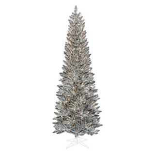 Pewter Tinsel Slim Pre lit Christmas Tree   Christmas Trees