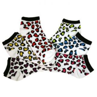 Luxury Divas White Multi Color Leopard Spotted 6 Pack Ankle No Show Socks Athletic Socks