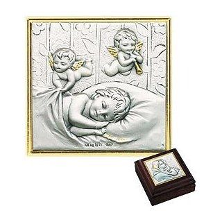"Angels Watching Over Sleeping Baby, Sterling Silver Image Keepsake Box on Mahogany   Rosary Box   Jewelry Box   Sterling/crystal    Sterling/mahogany    2.875"" Sq    Series 9c Mahogany Boxes  Document Frames"