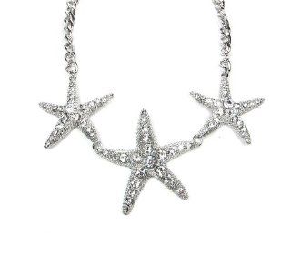 Summer Spring Silver Ocean Inspired Nautical Theme Triple Star Fish Crystals Statement Necklace Set Jewelry