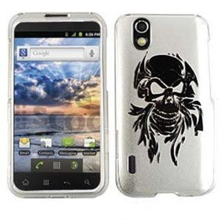 LG MARQUEE/IGNITE LS 855 BLACK SKULL ON SILVER TP CASE ACCESSORY SNAP ON PROTECTOR Cell Phones & Accessories