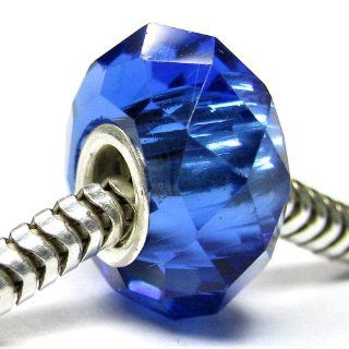 Sterling Silver Birthstone Crystal Sapphire Blue European Bead Charm September Jewelry