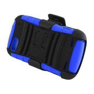 Eagle Cell PRZTEN861SPSTHLBLBK Hybrid Rugged TUFFSUIT with Kickstand for ZTE Warp Sequent N861   Retail Packaging   Blue/Black Cell Phones & Accessories