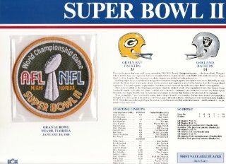 1967 Green Bay Packers/ Oakland Raiders NFL Super Bowl 2 (II) 1968 Bart Starr MVP Willabee Ward Patch and Stat Panel Card