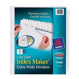 Avery Extra Wide Dividers, Ink Jet Printer, White, 5 Tab, 9 x 11 Inches, 5 Sets (11440)  Binder Index Dividers