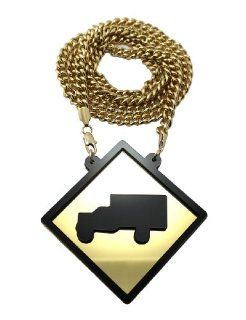 "New Iced Out Gold/Black Lil Wayne Mirror Trukfit Pendant w/8mm 36"" Miami Cuban Chain Necklace XP867 2G Jewelry"