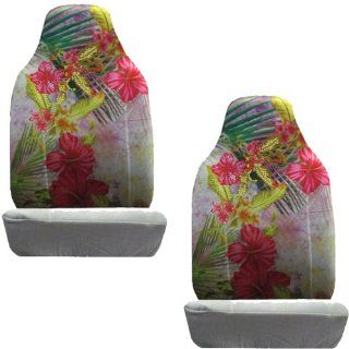 Red Flowers w/ Green Plants in Silver Background Gem Crystal Studded Rhinestone Bling Car Truck SUV Front Universal Fit Bucket Seat Covers   PAIR Automotive