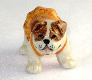 English BULLDOG Brown Orange/Flower Jumper Dress w/Panties SUPER MINIATURE New Porcelain KLIMA L895A   Collectible Figurines