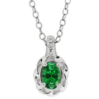 0.69 Ct Oval Green Created Emerald 18K White Gold Pendant Jewelry