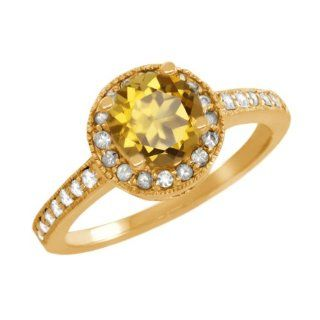 1.10 Ct Round Champagne Quartz White Sapphire 18K Yellow Gold Ring Jewelry
