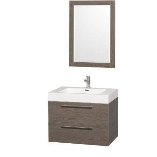 "Wyndham Collection WCR410030GOAR Grey Oak / Integrated Sink Amare Amare 29"" Wall Mount Vanity Set   Includes Cabinet Glass or Stone Top Vessel Sink and Mirror   Bathroom Vanities"