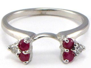 14k White Gold Ruby & Diamond Ring Wrap Guard Wedding Bands Jewelry