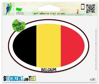 "Belgium Euro oval Car Sticker Indoor Outdoor 5"" x 3"" Automotive"
