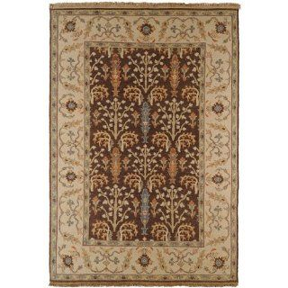 6' x 9' Spanish Garden Raw Umber and Biscotti Fringed Wool Area Throw Rug   Hand Knotted Rugs