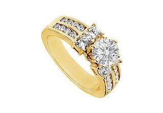 Unique Jewelry UBJ906Y14D Diamond Engagement Ring  14K Yellow Gold   2.00 CT Diamonds  Size 7 Unique Jewelry Jewelry