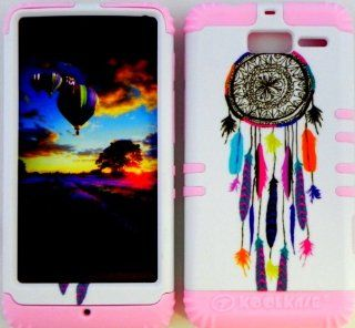 Bumper Case for Motorola Droid Razr M (XT907, 4G LTE, Verizon) Protector Case Colorful Dream Catcher Snap on + Baby Pink Silicone Hybrid Cover Cell Phones & Accessories