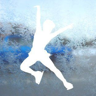Ice Skate Skating White Decal Car Window Laptop White Sticker Automotive