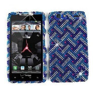 Motorola Droid RAZR XT912 XT 912 Cell Phone Full Crystals Diamonds Bling Protective Case Cover Blue with White Weave Pattern Red Gemstones Design (Free by ellie e. Wristband) Cell Phones & Accessories