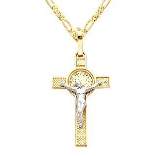 14K Yellow and White 2 Two Tone Gold Jesus Cross Religious Charm Pendant with Yellow Gold 2mm Figaro Chain Necklace with Lobster Claw Clasp   Pendant Necklace Combination (Different Chain Lengths Available) Goldenmine Jewelry
