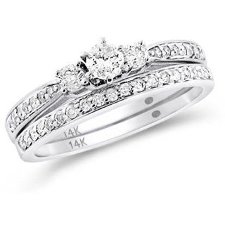 Diamond Engagement Ring & Wedding Band Three Stone Bridal Set Accents 14k White Gold (0.51 ctw) Jewelry