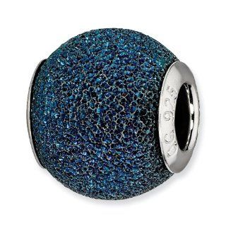 Reflection Beads   925 Sterling Silver Blue Laser Cut Bead Jewelry