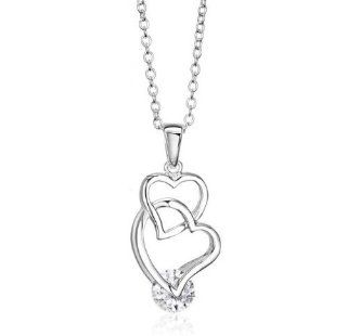 KATGI Fashion Interlinked Double Heart Austrian Crystal Pendant Necklace Katgi Jewelers Jewelry