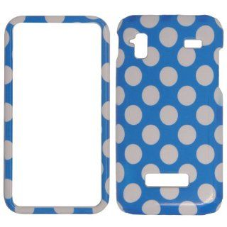Samsung Captivate glide i927   White Polka Dots on Blue Shinny Gloss Finish Hard Plastic Cover, Case, Easy Snap On, Faceplate. Cell Phones & Accessories