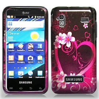 Samsung Captivate Glide i927 i 927 Black with Hot Pink Love Hearts Flowers Design Snap On Hard Protective Cover Case Cell Phone Cell Phones & Accessories