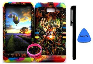Bumper Case for Motorola Droid Razr M (XT907, 4G LTE, Verizon) Protector Case Camo Mossy Hunter Series Deer Snap on + Rainbow Silicone Hybrid Cover (Stylus Pen, Pry Tool & Wireless Fones' Wristband included) Cell Phones & Accessories