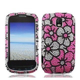 Samsung Transform Ultra M930 M 930 Cell Phone Full Crystals Diamonds Bling Protective Case Cover Silver and Pink Floral Flowers Design Cell Phones & Accessories