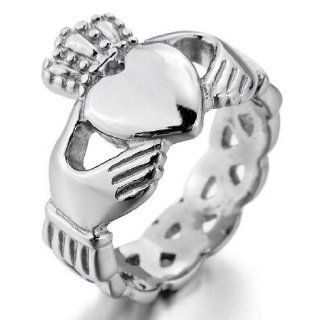 JBlue Jewelry Women's Stainless Steel Ring Silver Irish Celtic Knot Irish Claddagh Friendship Love Heart Crown Polished (with Gift Bag) Claddagh Rings For Women Cheap Jewelry