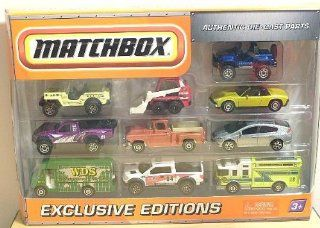 2009 2010 Matchbox Collector 10 Pack EXCLUSIVE EDITIONS Cliff Hanger, Jeep Willys, Skidster, 1971 VW Porsche 914, Baja Bullet, 1957 GMC Stepside, 2010 Honda Insight, Express Delivery, 2010 Ford F 150 SVT Raptor, Hazard Squad