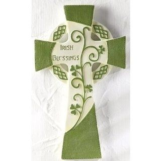 "4 Luck of the Irish Green and White ""Irish Blessings"" Religious Wall Crosses"