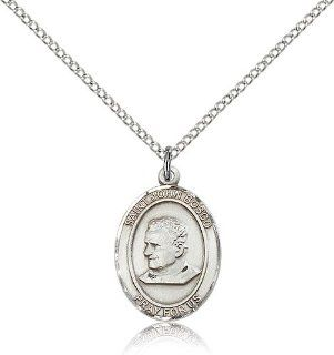 .925 Sterling Silver Saint St. John Bosco Medal Pendant 3/4 x 1/2 Inches Students/Apprentices 8055  Comes with a .925 Sterling Silver Lite Curb Chain Neckace And a Black velvet Box Jewelry