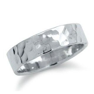 6MM Hammered 925 Sterling Silver Band Ring Jewelry