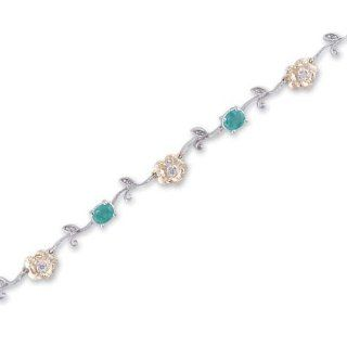 14K Two Tone Gold Diamond and Emerald Bracelet JewelryCastle Jewelry