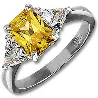 .925 Sterling Silver Canary Yellow Ring (6) Jewelry