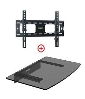 "Mount World 952T43 Low Profile LCD LED Plasma TV Tilt Wall Mount with Bundle Single Glass shelf of Cable Box DVD Player Stereo Components for Most 22"" to 42"" (VESA 100x100 200x100 200x200 300x300 400x200 400x300) LCD LCD of SONY Samsung Vizio Tos"