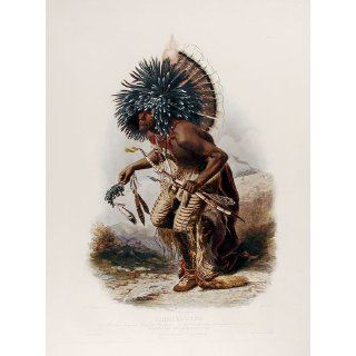 Art Pehriska Ruhpa. Moennitarri Warrior in the Costume of the Dog Danse  Aquatint  Karl Bodmer