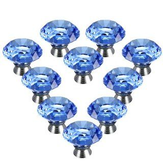 10PCS 40mm Crystal Glass Diamond Shape Cabinet Knob Cupboard Drawer Pull Handle   Childrens Furniture Drawer Handles