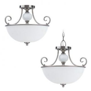 Sea Gull Lighting 51105 965 3 Light Montclaire Hall and Foyer Ceiling Light, Etched White Alabaster Glass and Antique Brushed Nickel   Close To Ceiling Light Fixtures