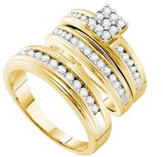 1.00 Carat (ctw) 14K Yellow Gold Round White Diamond Men & Women's Cluster Engagement Ring Bridal Trio Set 1 CT Jewelry